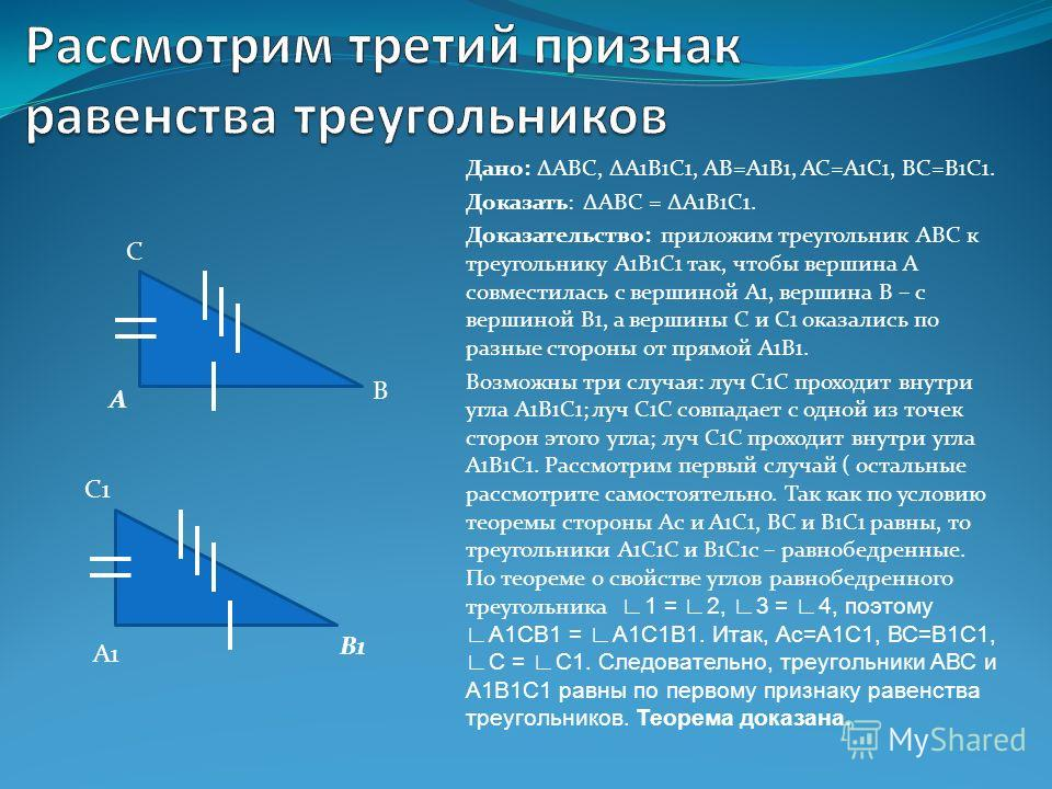 Дано: АВС, А1В1С1, АВ=А1В1, АС=А1С1, ВС=В1С1. Доказать: АВС = А1В1С1. Доказательство: приложим треугольник АВС к треугольнику А1В1С1 так, чтобы вершина А совместилась с вершиной А1, вершина В – с вершиной В1, а вершины С и С1 оказались по разные стор