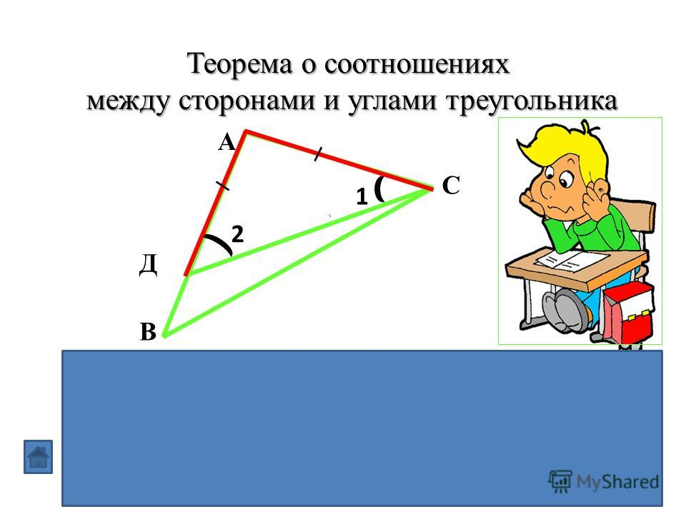Теорема о соотношениях между сторонами и углами треугольника В треугольнике:1) против большей стороны лежит больший угол; 2)обратно, против большего угла лежит большая сторона В А С Д 1 2 \ \