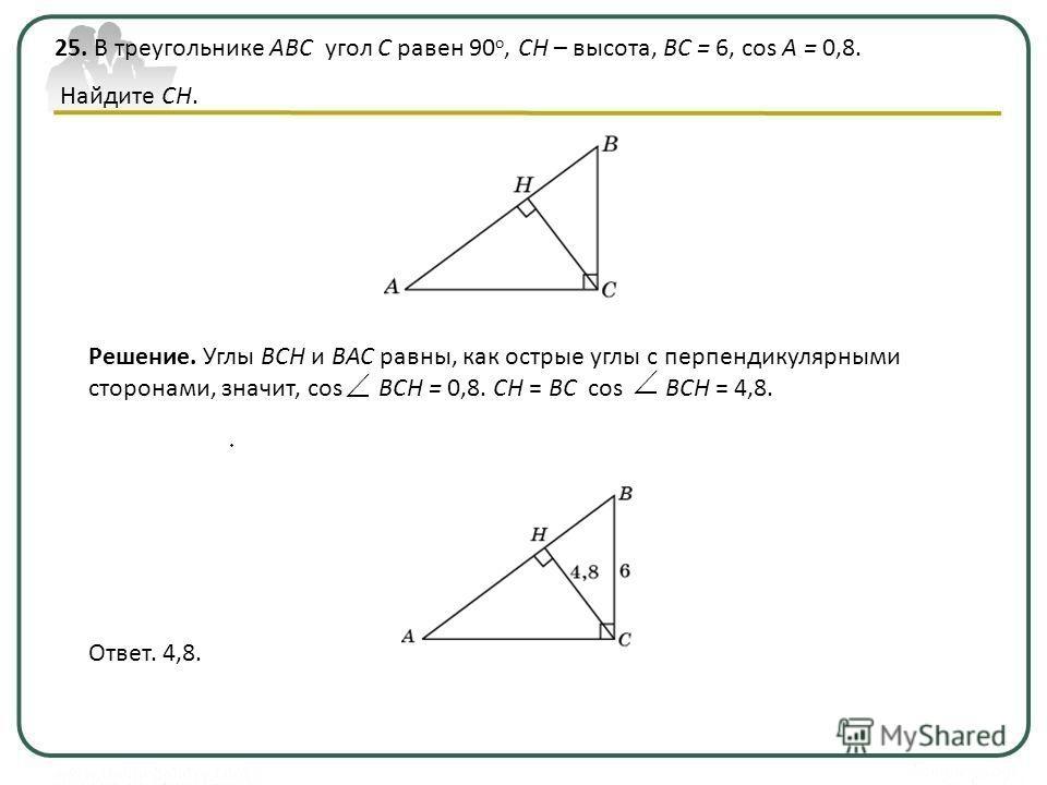 25. В треугольнике ABC угол C равен 90 о, CH – высота, BC = 6, cos A = 0,8. Найдите CH. Ответ. 4,8. Решение. Углы BCH и BAC равны, как острые углы с перпендикулярными сторонами, значит, cos BCH = 0,8. CH = BC cos BCH = 4,8.