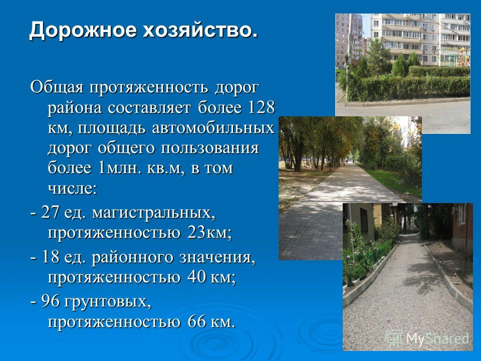 Дорожное хозяйство. Общая протяженность дорог района составляет более 128 км, площадь автомобильных дорог общего пользования более 1млн. кв.м, в том числе: - 27 ед. магистральных, протяженностью 23км; - 18 ед. районного значения, протяженностью 40 км