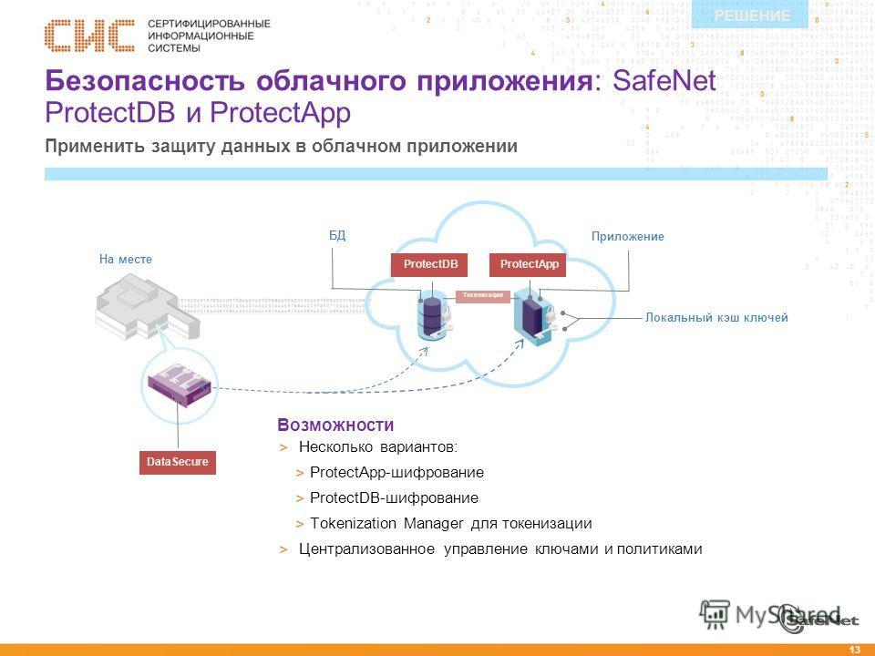 13 На месте Безопасность облачного приложения: SafeNet ProtectDB и ProtectApp Применить защиту данных в облачном приложении РЕШЕНИЕ Возможности Несколько вариантов: ProtectApp-шифрование ProtectDB-шифрование Tokenization Manager для токенизации Центр