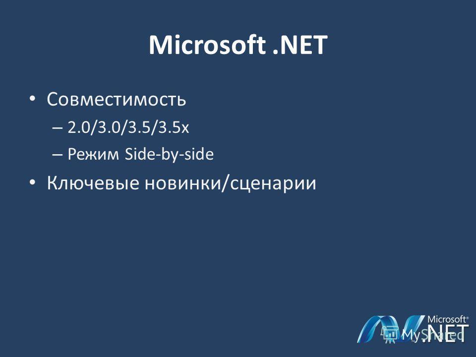 Microsoft.NET Совместимость – 2.0/3.0/3.5/3.5х – Режим Side-by-side Ключевые новинки/сценарии