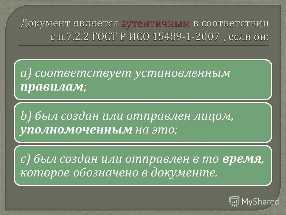 a) соответствует установленным правилам ; b) был создан или отправлен лицом, уполномоченным на это ; c) был создан или отправлен в то время, которое обозначено в документе.
