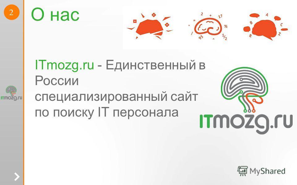 2 О нас ITmozg.ru - Единственный в России специализированный сайт по поиску IT персонала