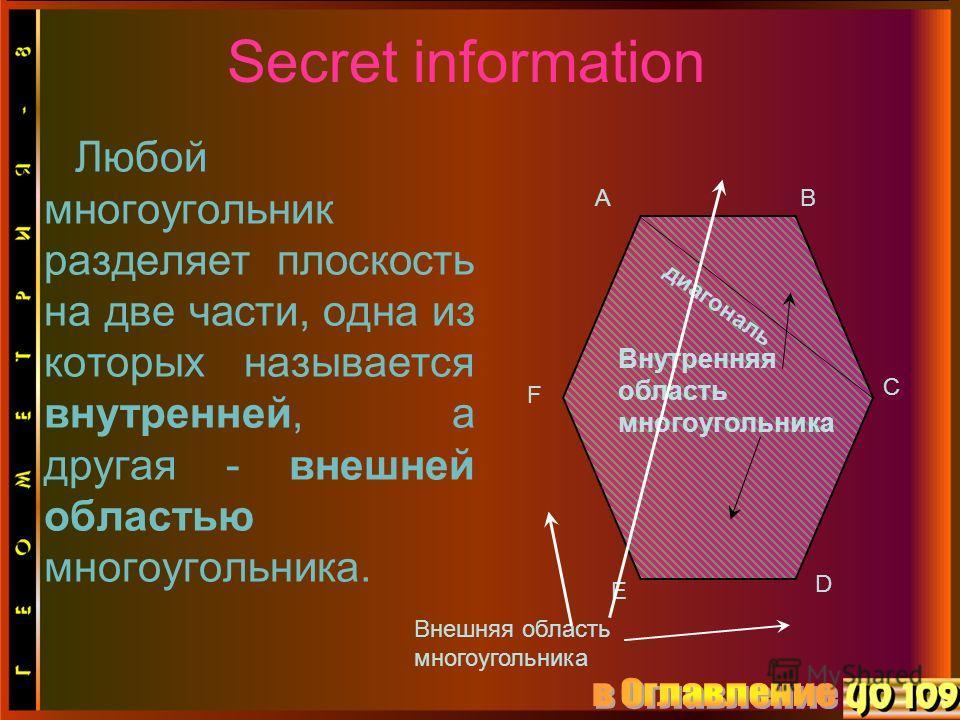 Secret information Любой многоугольник разделяет плоскость на две части, одна из которых называется внутренней, а другая - внешней областью многоугольника. C AB D E F диагональ Внутренняя область многоугольника Внешняя область многоугольника