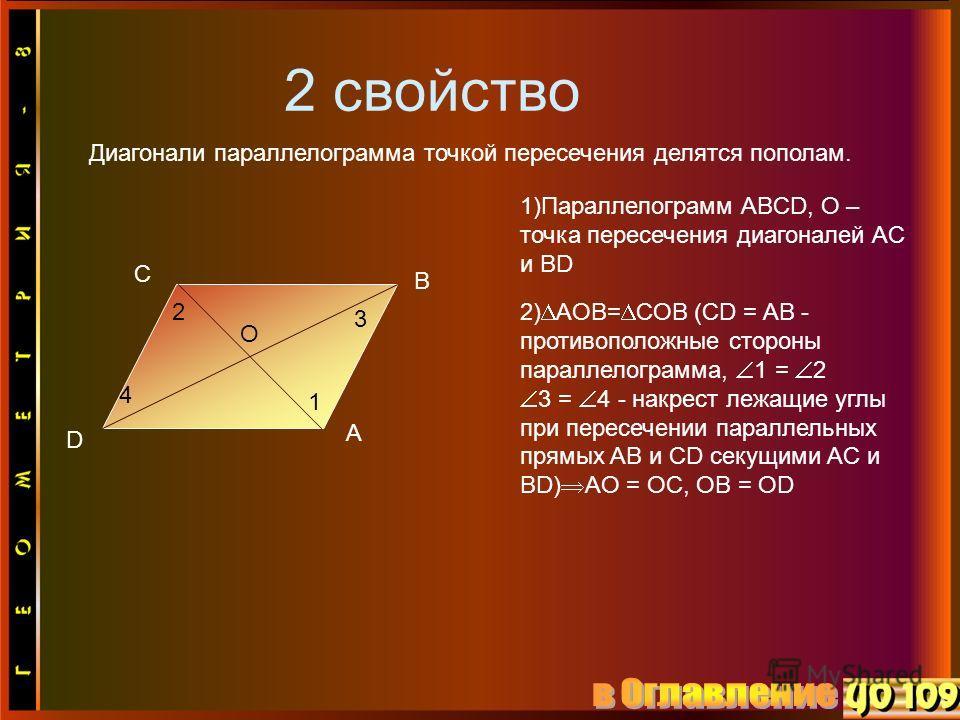 2 свойство Диагонали параллелограмма точкой пересечения делятся пополам. D C B A O 2 4 3 1 1)Параллелограмм ABCD, O – точка пересечения диагоналей AC и BD 2) AOB= COB (CD = AB - противоположные стороны параллелограмма, 1 = 2 3 = 4 - накрест лежащие у