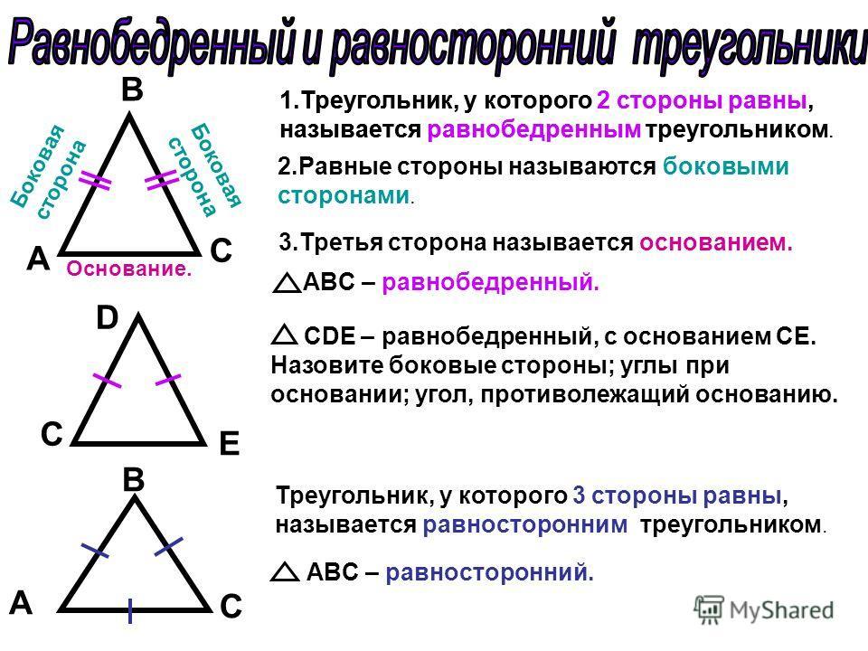 А C B 1.Треугольник, у которого 2 стороны равны, называется равнобедренным треугольником. 2.Равные стороны называются боковыми сторонами. Основание. Боковая сторона 3.Третья сторона называется основанием. Боковая сторона ABC – равнобедренный. D С E C