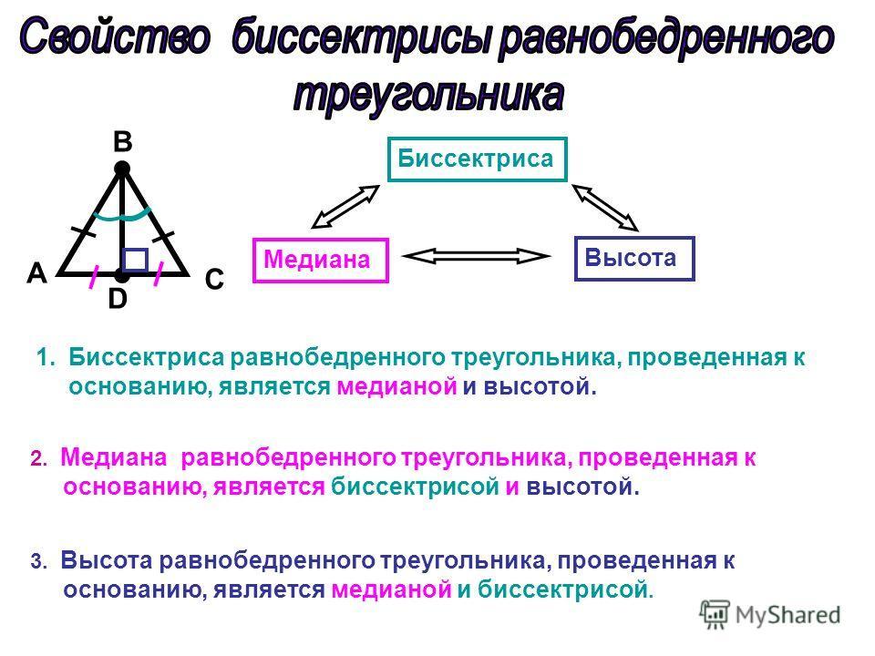 A С D B Биссектриса Медиана Высота 1.Биссектриса равнобедренного треугольника, проведенная к основанию, является медианой и высотой. 2. Медиана равнобедренного треугольника, проведенная к основанию, является биссектрисой и высотой. 3. Высота равнобед