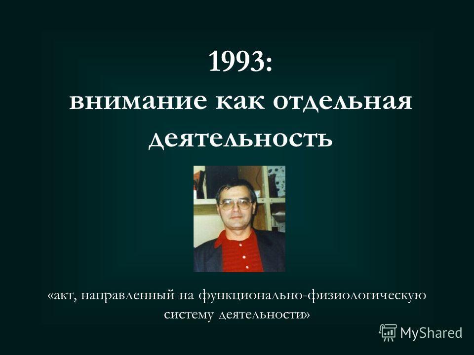 1983: внимание как сторона деятельности Деятельность СознаниеФизиологические механизмы В