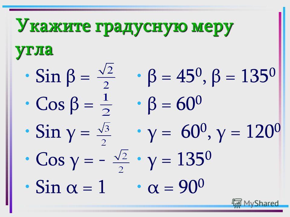Укажите градусную меру угла Sin β = Cos β = Sin γ = Cos γ = - Sin α = 1 β = 45 0, β = 135 0 β = 60 0 γ = 60 0, γ = 120 0 γ = 135 0 α = 90 0