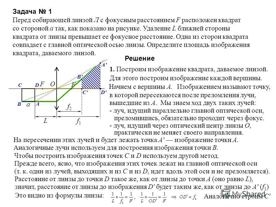Задача 1 Перед собирающей линзой Л с фокусным расстоянием F расположен квадрат со стороной a так, как показано на рисунке. Удаление L ближней стороны квадрата от линзы превышает ее фокусное расстояние. Одна из сторон квадрата совпадает с главной опти