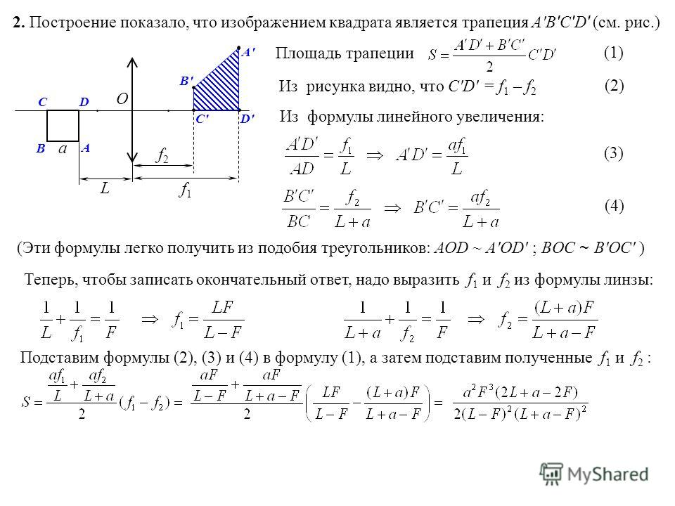 2. Построение показало, что изображением квадрата является трапеция А'В ' С ' D ' (см. рис.) a L A B CD A'A' В'В' О f1f1 D'D' f2f2 С'С' Площадь трапеции Из рисунка видно, что C'D' = f 1 – f 2 Из формулы линейного увеличения: (Эти формулы легко получи