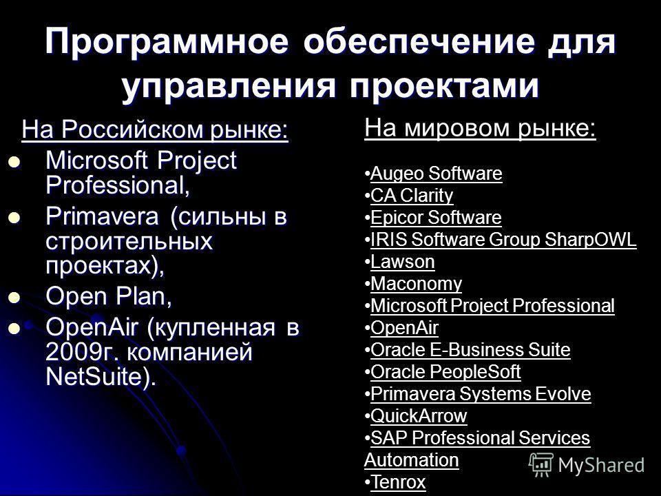 Программное обеспечение для управления проектами На Российском рынке: На Российском рынке: Microsoft Project Professional, Microsoft Project Professional, Primavera (сильны в строительных проектах), Primavera (сильны в строительных проектах), Open Pl