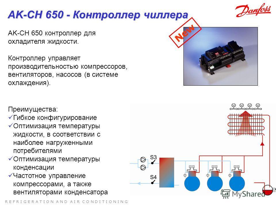 R E F R I G E R A T I O N A N D A I R C O N D I T I O N I N G AK-CH 650 контроллер для охладителя жидкости. Контроллер управляет производительностью компрессоров, вентиляторов, насосов (в системе охлаждения). Преимущества: Гибкое конфигурирование Опт