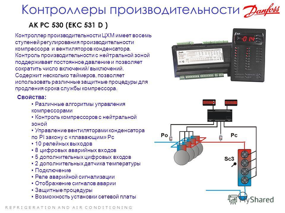 R E F R I G E R A T I O N A N D A I R C O N D I T I O N I N G AK PC 530 (EKC 531 D ) Контроллер производительности ЦХМ имеет восемь ступеней регулирования производительности компрессора и вентиляторов конденсатора. Контроль производительности с нейтр
