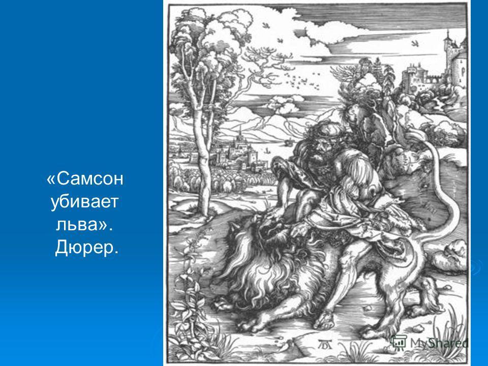 «Самсон убивает льва». Дюрер.