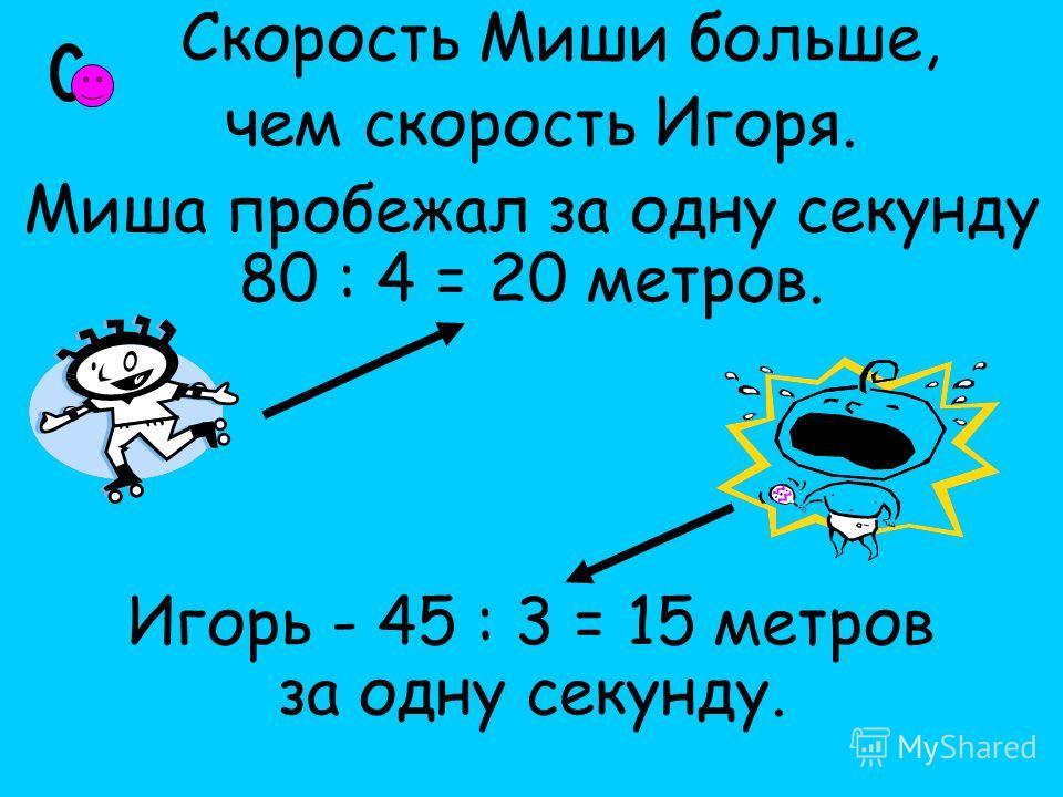 Скорость Миши больше, чем скорость Игоря. Миша пробежал за одну секунду 80 : 4 = 20 метров. Игорь - 45 : 3 = 15 метров за одну секунду.