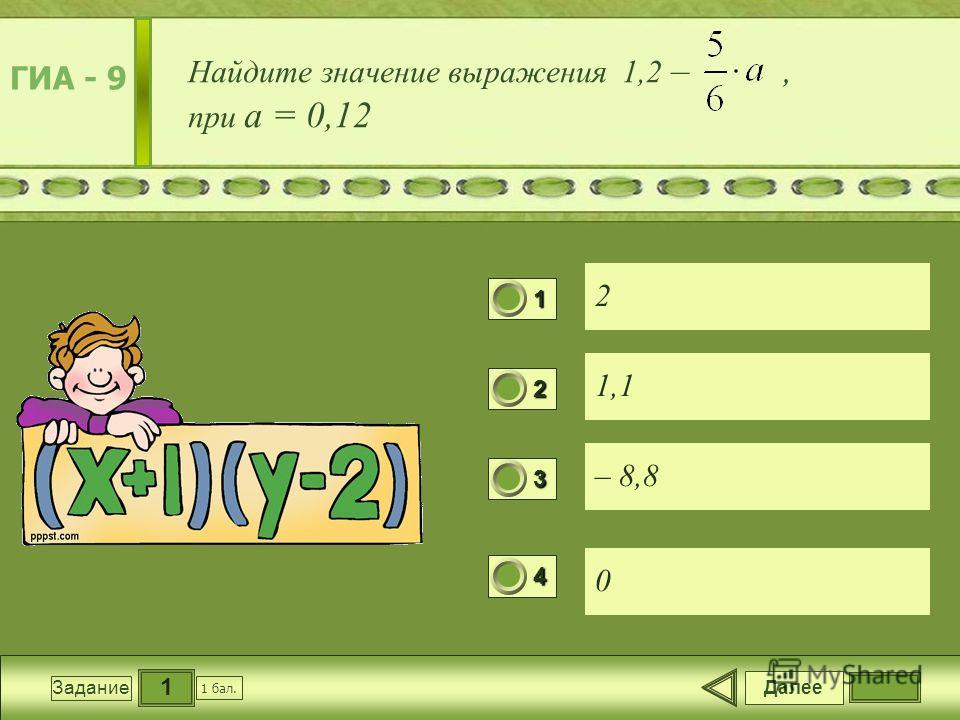 1 Задание Найдите значение выражения 1,2 –, при a = 0,12 2 1,1 – 8,8 0 Далее 1 бал. 1111 0 2222 0 3333 0 4444 0 ГИА - 9
