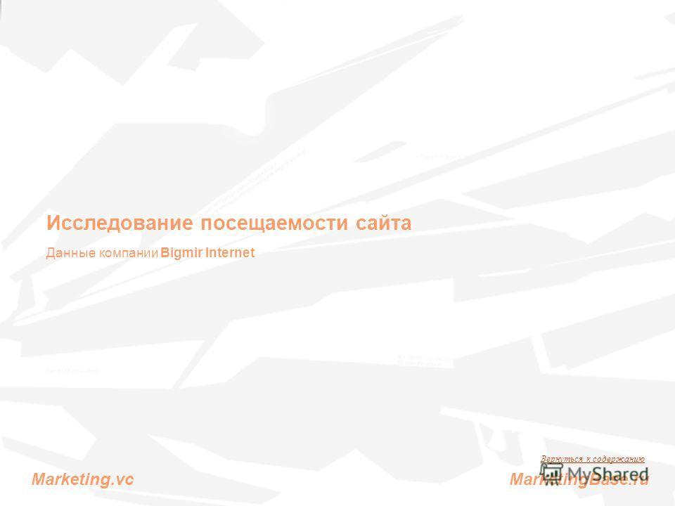 Исследование посещаемости сайта Данные компании Bigmir Internet Вернуться к содержанию Marketing.vc MarketingBase.ru