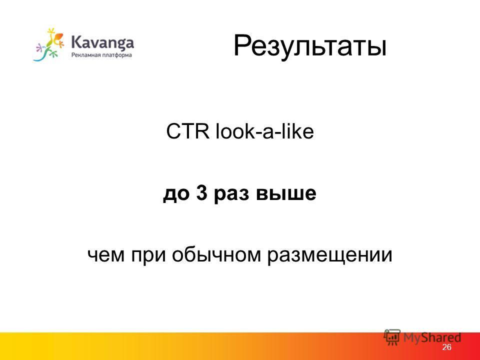 Результаты CTR look-a-like до 3 раз выше чем при обычном размещении 26