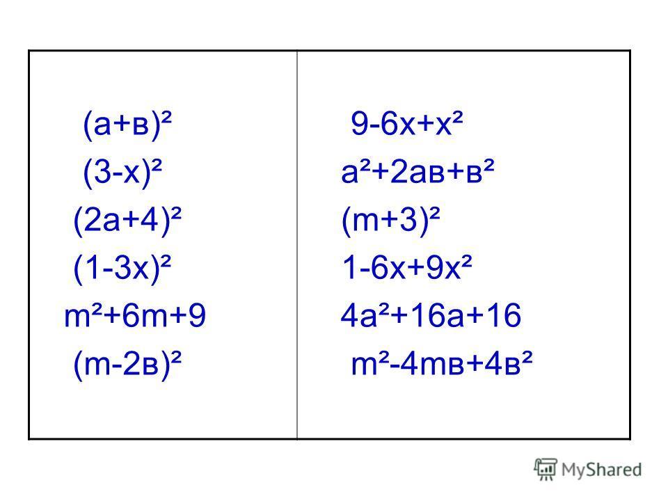 (а+в)² (3-х)² (2а+4)² (1-3х)² m²+6m+9 (m-2в)² 9-6х+х² а²+2ав+в² (m+3)² 1-6х+9х² 4а²+16а+16 m²-4mв+4в²