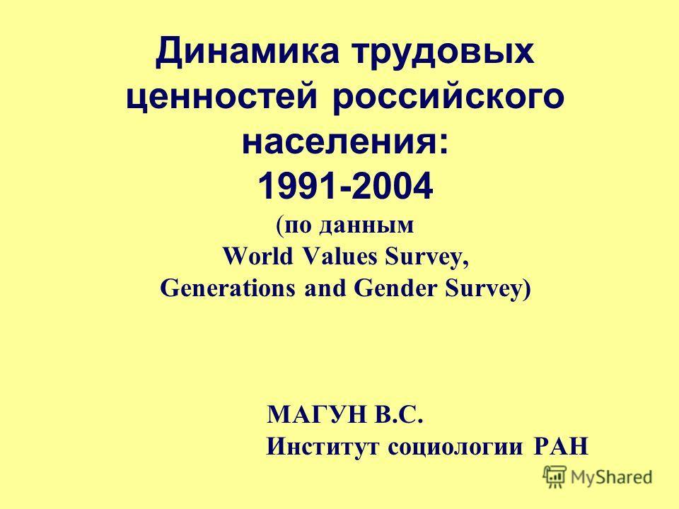 Динамика трудовых ценностей российского населения: 1991-2004 (по данным World Values Survey, Generations and Gender Survey) МАГУН В.С. Институт социологии РАН