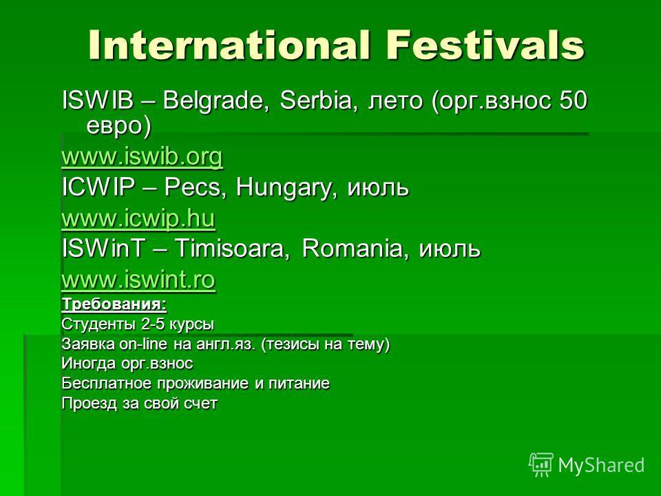 International Festivals ISWIB – Belgrade, Serbia, лето (орг.взнос 50 евро) www.iswib.org ICWIP – Pecs, Hungary, июль www.icwip.hu ISWinT – Timisoara, Romania, июль www.iswint.ro Требования: Студенты 2-5 курсы Заявка on-line на англ.яз. (тезисы на тем