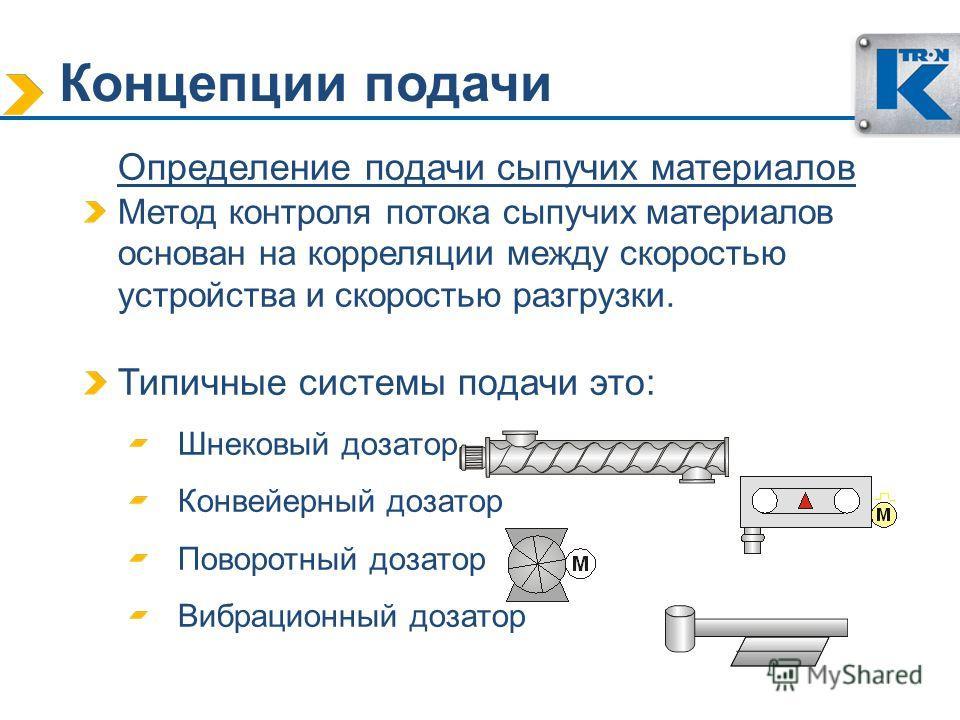 Концепции подачи Определение подачи сыпучих материалов Метод контроля потока сыпучих материалов основан на корреляции между скоростью устройства и скоростью разгрузки. Типичные системы подачи это: Шнековый дозатор Конвейерный дозатор Поворотный дозат