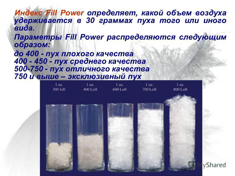 Индекс Fill Power определяет, какой объем воздуха удерживается в 30 граммах пуха того или иного вида. Параметры Fill Power распределяются следующим образом: до 400 - пух плохого качества 400 - 450 - пух среднего качества 500-750 - пух отличного качес