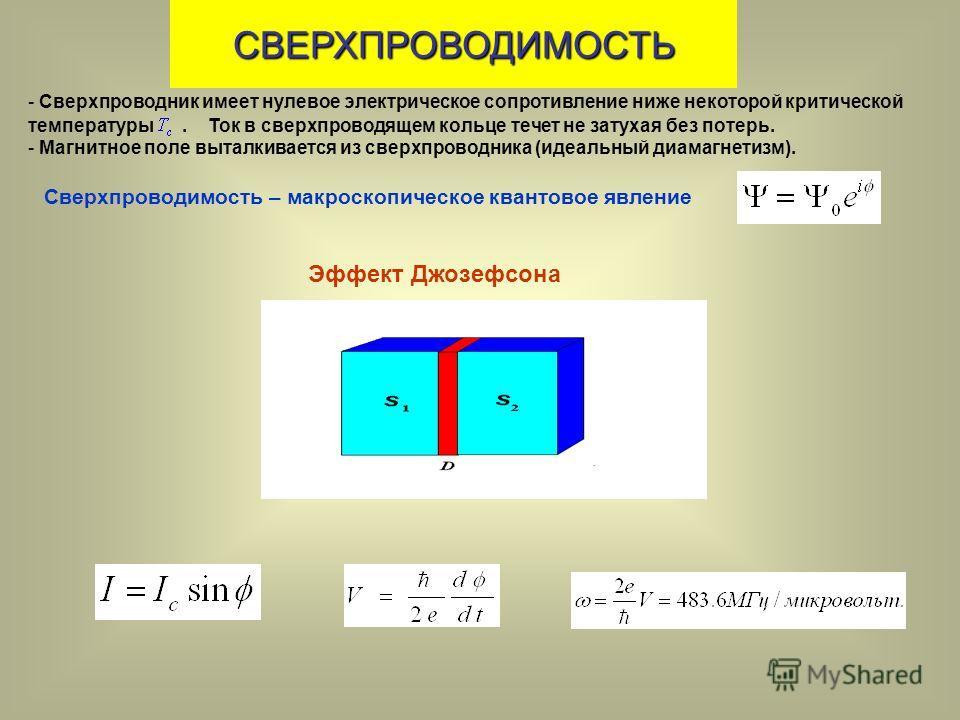 СВЕРХПРОВОДИМОСТЬ - Сверхпроводник имеет нулевое электрическое сопротивление ниже некоторой критической температуры. Ток в сверхпроводящем кольце течет не затухая без потерь. - Магнитное поле выталкивается из сверхпроводника (идеальный диамагнетизм).