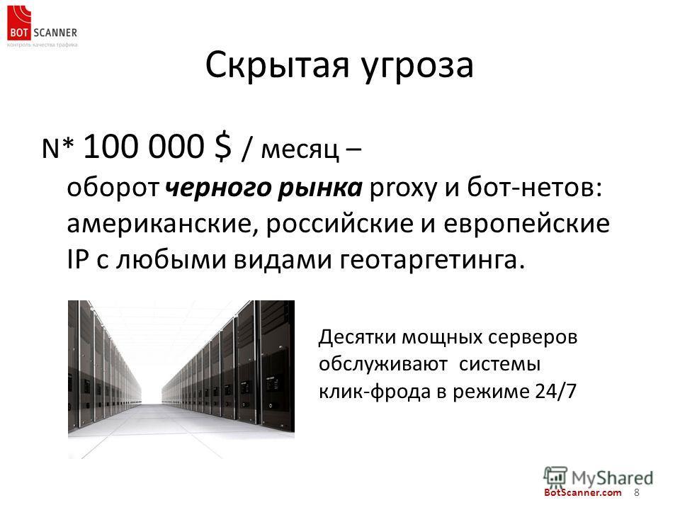 BotScanner.com 8 Скрытая угроза N* 100 000 $ / месяц – оборот черного рынка proxy и бот-нетов: американские, российские и европейские IP с любыми видами геотаргетинга. Десятки мощных серверов обслуживают системы клик-фрода в режиме 24/7