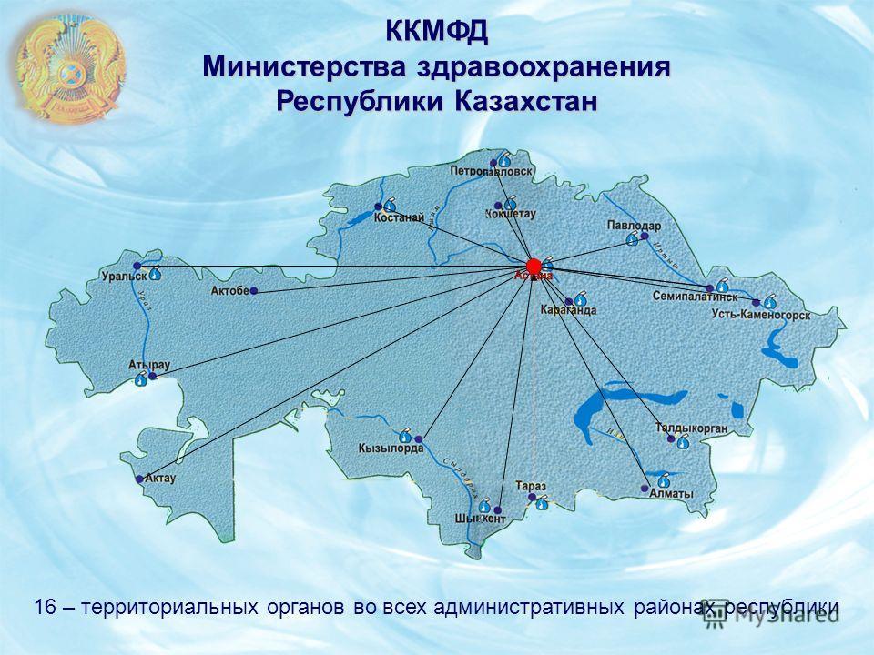 ККМФД Министерства здравоохранения Республики Казахстан 16 – территориальных органов во всех административных районах республики Астана