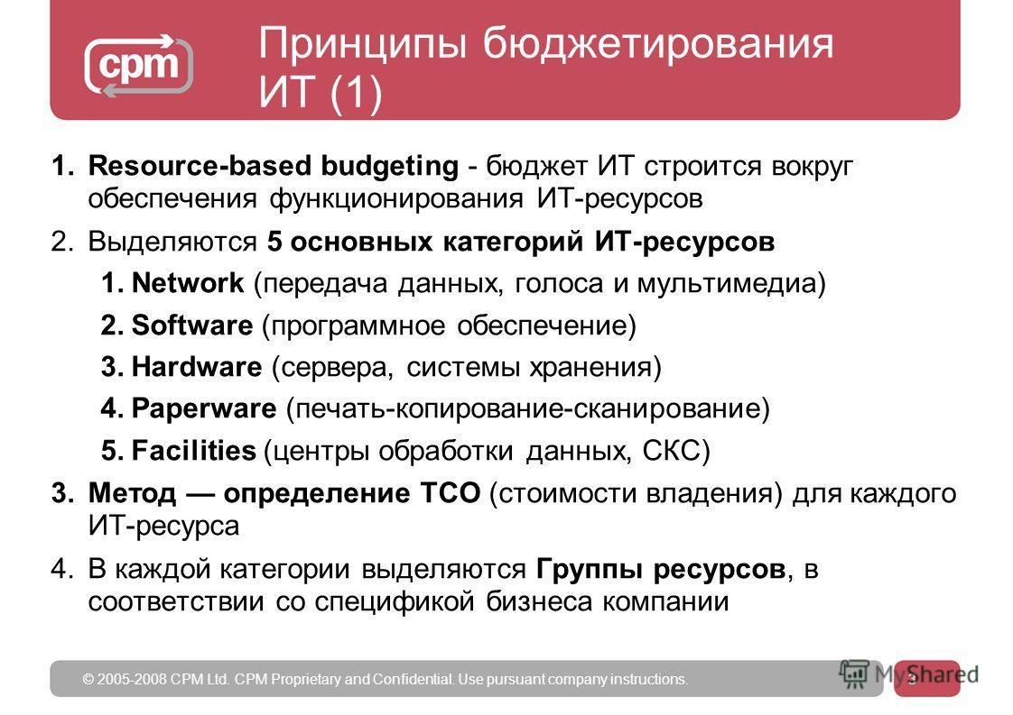 © 2005-2008 CPM Ltd. CPM Proprietary and Confidential. Use pursuant company instructions.3 Принципы бюджетирования ИТ (1) 1.Resource-based budgeting - бюджет ИТ строится вокруг обеспечения функционирования ИТ-ресурсов 2.Выделяются 5 основных категори