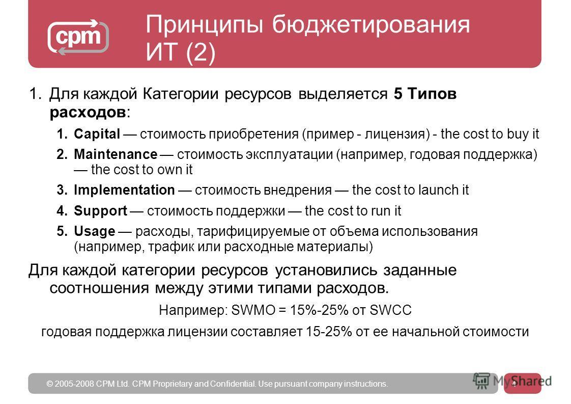 © 2005-2008 CPM Ltd. CPM Proprietary and Confidential. Use pursuant company instructions.4 Принципы бюджетирования ИТ (2) 1.Для каждой Категории ресурсов выделяется 5 Типов расходов: 1.Capital стоимость приобретения (пример - лицензия) - the cost to
