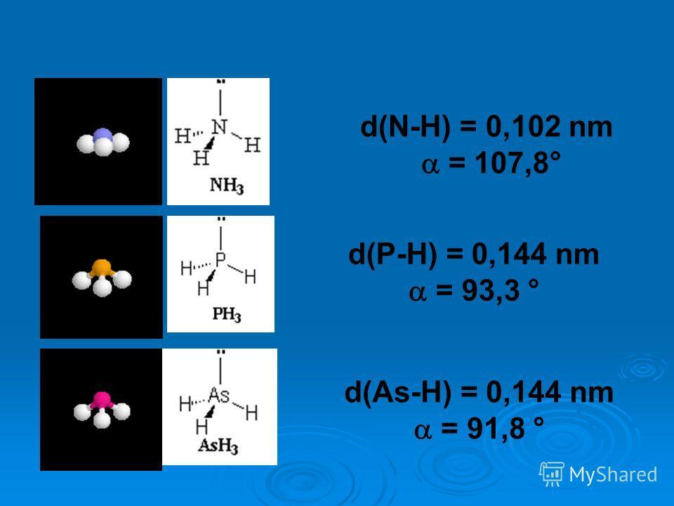 d(N-H) = 0,102 nm = 107,8° d(P-H) = 0,144 nm = 93,3 ° d(As-H) = 0,144 nm = 91,8 °