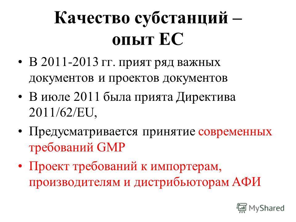Качество субстанций – опыт ЕС В 2011-2013 гг. прият ряд важных документов и проектов документов В июле 2011 была прията Директива 2011/62/EU, Предусматривается принятие современных требований GMP Проект требований к импортерам, производителям и дистр