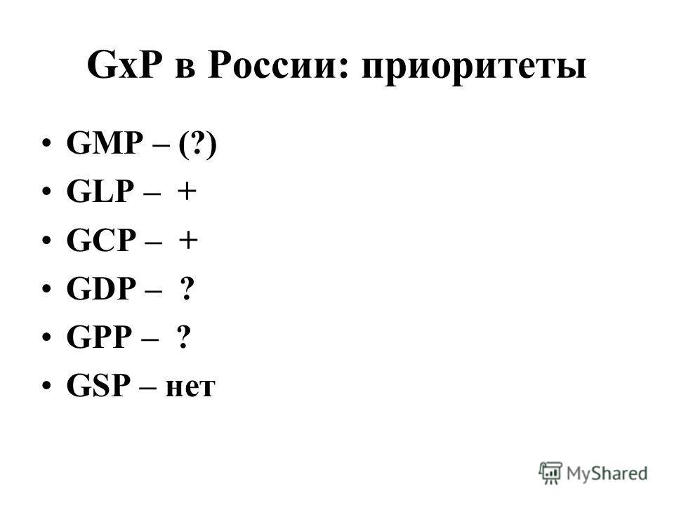 GxP в России: приоритеты GMP – (?) GLP – + GCP – + GDP – ? GPP – ? GSP – нет