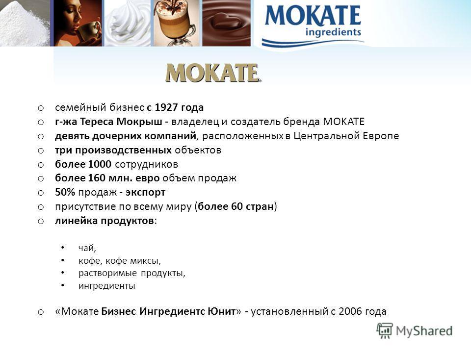 o семейный бизнес с 1927 года o г-жа Тереса Mокрыш - владелец и создатель бренда MOKATE o девять дочерних компаний, расположенных в Центральной Европе o три производственных объектов o более 1000 сотрудников o более 160 млн. евро объем продаж o 50% п
