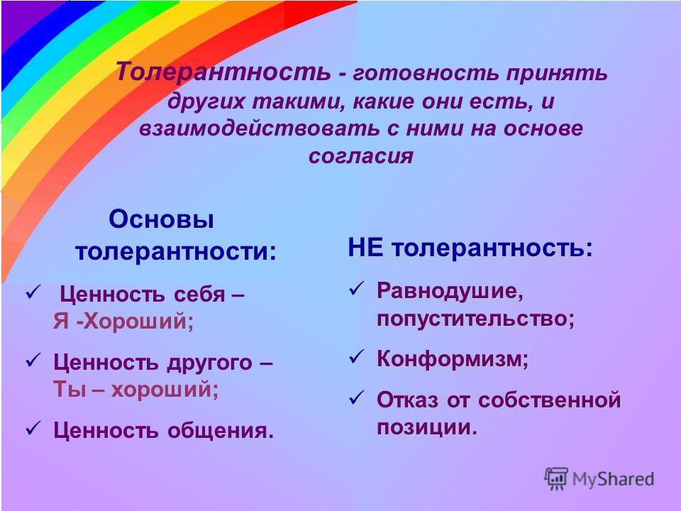 Толерантность - готовность принять других такими, какие они есть, и взаимодействовать с ними на основе согласия Основы толерантности: Ценность себя – Я -Хороший; Ценность другого – Ты – хороший; Ценность общения. НЕ толерантность: Равнодушие, попусти