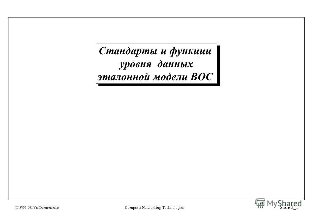 ©1996-98. Yu.DemchenkoComputer Networking Technologies Slide 2_1 Стандарты и функции уровня данных эталонной модели ВОС