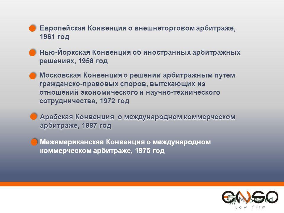 Европейская Конвенция о внешнеторговом арбитраже, 1961 год Нью-Йоркская Конвенция об иностранных арбитражных решениях, 1958 год Московская Конвенция о решении арбитражным путем гражданско-правовых споров, вытекающих из отношений экономического и науч