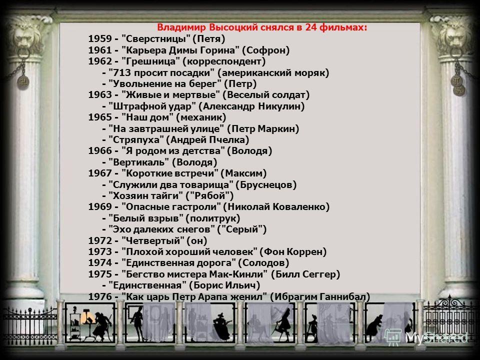 Владимир Высоцкий снялся в 24 фильмах: 1959 -