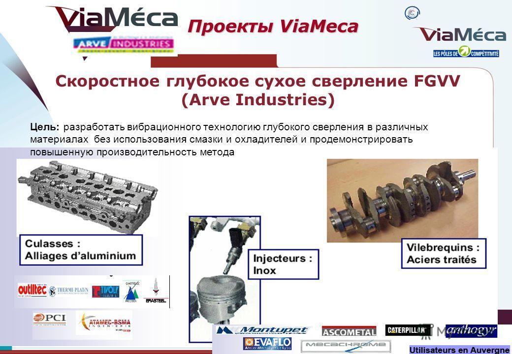 Цель: разработать вибрационного технологию глубокого сверления в различных материалах без использования смазки и охладителей и продемонстрировать повышенную производительность метода Скоростное глубокое сухое сверление FGVV (Arve Industries) Проекты