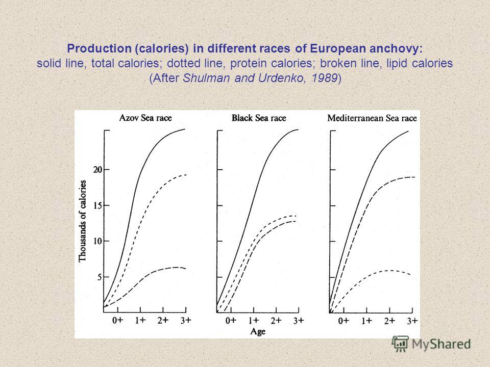 Production (calories) in different races of European anchovy: solid line, total calories; dotted line, protein calories; broken line, lipid calories (After Shulman and Urdenko, 1989)