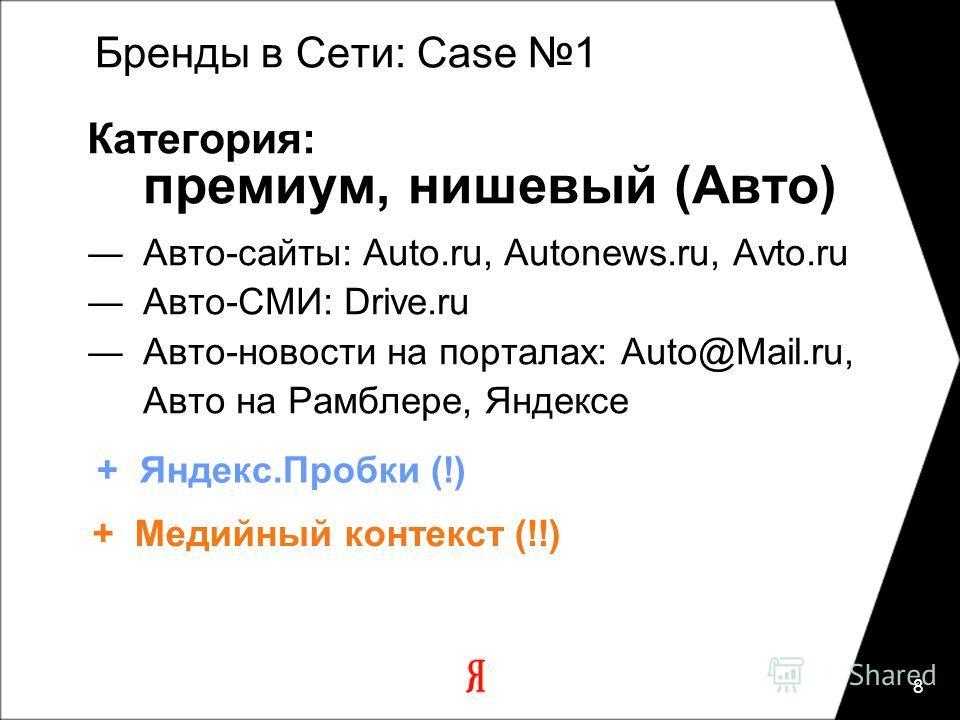 8 Категория: премиум, нишевый (Авто) Авто-сайты: Auto.ru, Autonews.ru, Avto.ru Авто-СМИ: Drive.ru Авто-новости на порталах: Auto@Mail.ru, Авто на Рамблере, Яндексе Бренды в Сети: Case 1 + Медийный контекст (!!) + Яндекс.Пробки (!)