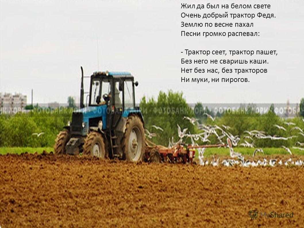 Жил да был на белом свете Очень добрый трактор Федя. Землю по весне пахал Песни громко распевал: - Трактор сеет, трактор пашет, Без него не сваришь каши. Нет без нас, без тракторов Ни муки, ни пирогов.