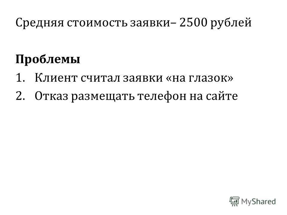 Средняя стоимость заявки– 2500 рублей Проблемы 1.Клиент считал заявки «на глазок» 2.Отказ размещать телефон на сайте