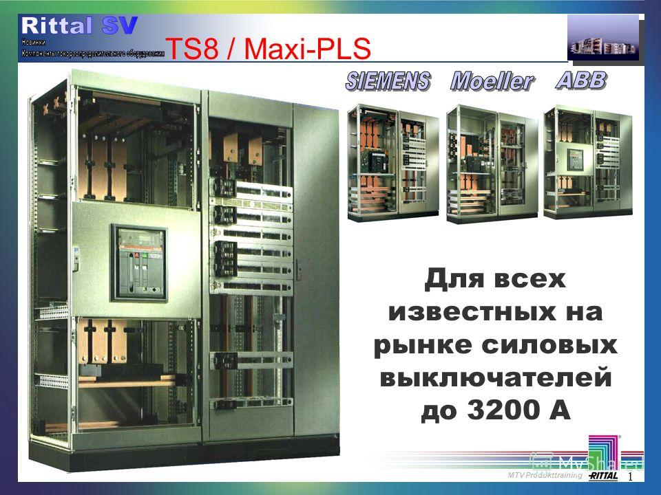 MTV Produkttraining 1 TS8 / Maxi-PLS Для всех известных на рынке силовых выключателей до 3200 A