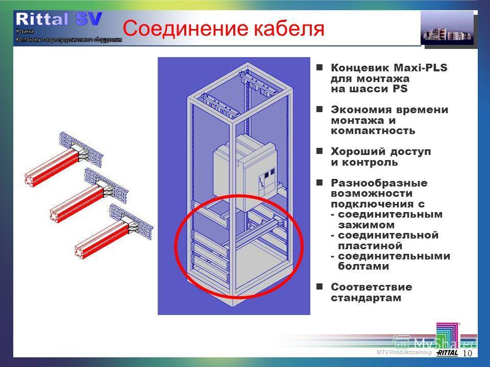 MTV Produkttraining 10 Соединение кабеля nКонцевик Maxi-PLS для монтажа на шасси PS nЭкономия времени монтажа и компактность nХороший доступ и контроль nРазнообразные возможности подключения с - соединительным зажимом - соединительной пластиной - сое