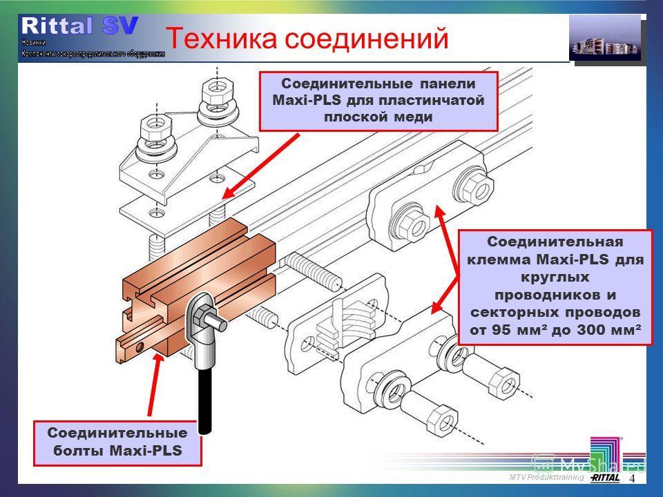 MTV Produkttraining 4 Техника соединений Соединительные болты Maxi-PLS Соединительные панели Maxi-PLS для пластинчатой плоской меди Соединительная клемма Maxi-PLS для круглых проводников и секторных проводов от 95 мм² до 300 мм²